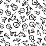 Seamless pattern with hand-drawn doodle icons, back to school theme Royalty Free Stock Photo