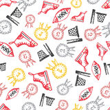 Seamless pattern with hand-drawn doodle icons, back to school theme Royalty Free Stock Image