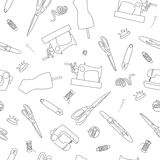 Seamless pattern hand drawn doodle icons sewing set. Seamless pattern hand drawn doodle handmade icons set. Vector illustration. Sewing collection Stock Image