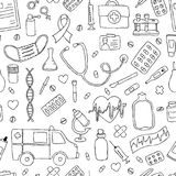 Seamless pattern hand drawn doodle medicine. Hand drawn Stock Image