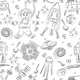 Seamless Pattern of Hand Drawn Doodle Spaceman, Spaceships, Rockets, Falling Stars, Planets and Comets. Sketch Style. Royalty Free Stock Photography