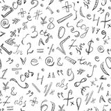 Seamless Pattern of Hand Drawn Doodle Symbols and Numbers. Scribble Mathematics Signs. Stock Photos