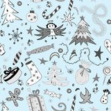 Seamless Pattern of Hand Drawn Doodle Winter Holiday Symbols. Children Drawings of Fir Trees, Gifts, Candle, Sweets, Angel Stock Images