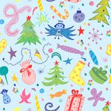 Seamless Pattern of Hand Drawn Doodle Winter Holiday Symbols. Colorful Children Drawings of Fir Trees, Gifts, Candle, Sweets. Stock Photo