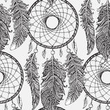 Seamless pattern with hand drawn dream catchers  in line art sty Stock Images