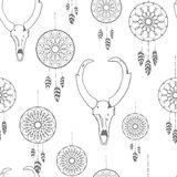 Seamless pattern with hand drawn dreamcatchers and antelope skull Royalty Free Stock Photography