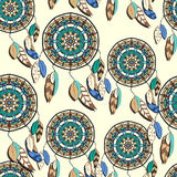 Seamless pattern with hand drawn dreamcatchers Royalty Free Stock Image