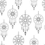 Seamless pattern with hand drawn dreamcatchers Stock Photography