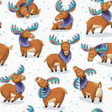 Seamless pattern with hand drawn elks Royalty Free Stock Photos
