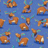 Seamless pattern with hand drawn elks Stock Photos