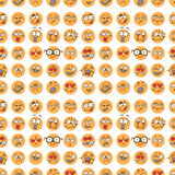 Seamless pattern with hand drawn emoticons, doodle characters Royalty Free Stock Image