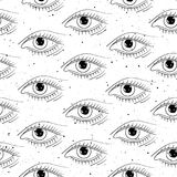 Seamless pattern hand drawn eyes stock illustration