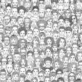 Seamless pattern of 100 hand drawn faces, black and white. Diverse crowd of people - seamless pattern of 100 hand drawn faces of various ethnicities, black and royalty free illustration
