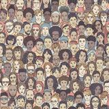 Seamless pattern of 100 hand drawn faces stock images