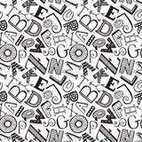 Seamless pattern with hand drawn fancy alphabet Stock Images