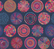 Seamless pattern with hand drawn fancy circle. Royalty Free Stock Image