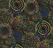 Seamless pattern with hand drawn fancy circle. Colorful dark endless background with decorative ethnic elements Stock Photos
