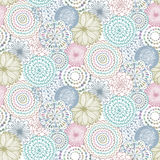 Seamless pattern with hand drawn fancy circle. Colorful light endless background with decorative ethnic elements Royalty Free Stock Image
