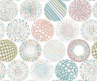 Seamless pattern with hand drawn fancy circle. Colorful light endless background with decorative ethnic elements Royalty Free Stock Photos