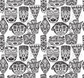 Seamless  pattern with hand drawn fancy masks in african s Stock Photo