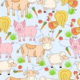 Seamless pattern with hand drawn farm animal and cock, sheep, tomato, carrot, cow, pig, grass. Cartoon summer background. Stock Images