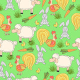 Seamless pattern with hand drawn farm animal and cock, sheep, tomato, carrot, cow, pig, grass. Cartoon summer background. Royalty Free Stock Photo