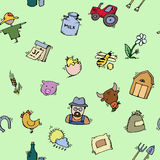 Seamless pattern Hand drawn Farm icon set Royalty Free Stock Images