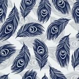 Seamless  pattern with hand drawn feathers peacock Stock Image