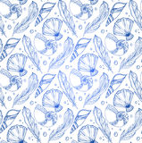 Seamless pattern of hand drawn feathers and seashells Royalty Free Stock Photo