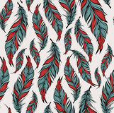 Seamless pattern with hand drawn feathers. Vector illustration Stock Image
