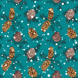Seamless pattern with hand drawn fir cones Stock Image