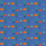 Seamless pattern of hand-drawn fish silhouettes. Stock Photography