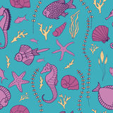 Seamless pattern with hand drawn fishes Stock Images