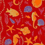 Seamless pattern with hand drawn fishes. Corrals, shells, seaweeds and sea-horses. Perfect background texture for menus, booklets or web designs Royalty Free Stock Image