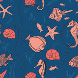 Seamless pattern with hand drawn fishes. Corrals, shells, seaweeds and sea-horses. Perfect background texture for menus, booklets or web designs Royalty Free Stock Photos