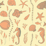 Seamless pattern with hand drawn fishes Stock Photography