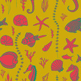 Seamless pattern with hand drawn fishes Royalty Free Stock Images