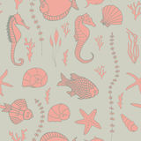 Seamless pattern with hand drawn fishes Royalty Free Stock Photography