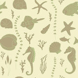Seamless pattern with hand drawn fishes Stock Image