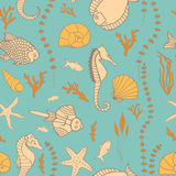 Seamless pattern with hand drawn fishes Stock Photos