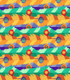 Seamless pattern with hand-drawn flat colorful feathers Stock Photography