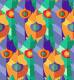 Seamless pattern with hand-drawn flat colorful feathers Royalty Free Stock Image