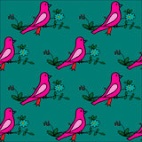 Seamless pattern with hand drawn flowers and birds. EPS 10 stock illustration