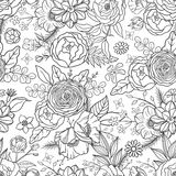 Seamless pattern with hand drawn flowers. Royalty Free Stock Photos