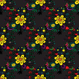 Seamless pattern with hand-drawn flowers Stock Photo