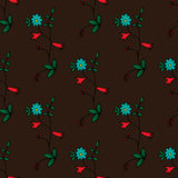 Seamless pattern with hand-drawn flowers Royalty Free Stock Image