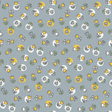 Evening Meadow Pattern. Seamless pattern of hand drawn flowers on a gray background Royalty Free Stock Photos