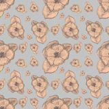 Seamless pattern with hand drawn flowers. Gray background. Graphic botanical sketch. Spring and summer floral. Wedding design. For