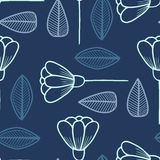 Seamless pattern with hand drawn flowers and leafs. Stock Images