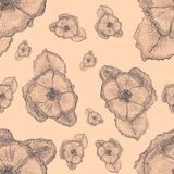 Seamless pattern with hand drawn flowers. Monochrome. Graphic botanical sketch. Spring and summer floral element. Wedding design.
